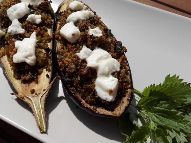 Baked eggplant stuffed with lentil couscous